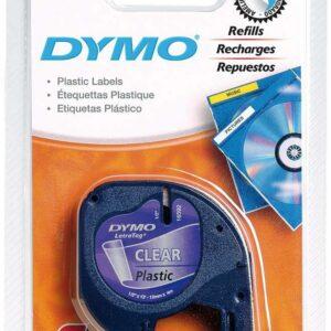 DYMO Cinta Rotuladora letratag 12 mm x 4 m Negro/Transparente