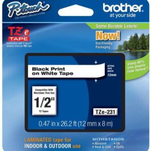 BROTHER Cinta Tze-231 Negro/Blanco 12mmx8m TZe231