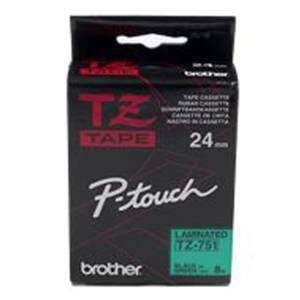 BROTHER Cinta Rotuladora TZ-751 8m 24mm Negro/Verde Tze751