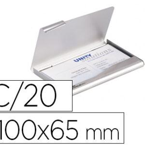 DURABLE Tarjetero aluminio 100×65 para 20 tarjetas 55×90 color plata 2415-23