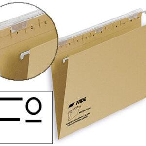 FADE Caja 25 Carpetas colgantes Folio Carton kraft eco Visor superior 290 mm.