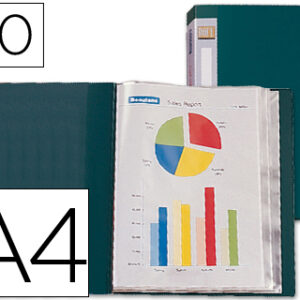 CARPETA 60 FUNDAS LIDERPAPEL A4 VERDE LOMO PERSONALIZABLE CJ51