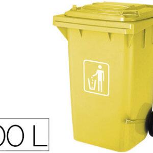 Papelera contenedor q-connect plastico con tapadera 100l amarillo 750x470x370 mm con ruedas. KF16543