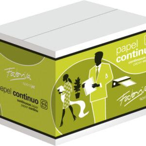 FABRISA Papel Continuo Caja 2500 Hojas 380×11 Pulgadas Blanco 2 trepados