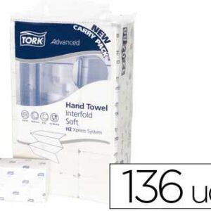 Toalla de papel engarzada 2 capas 21×33 cm paquete de 136 unidades para dispensador h2.