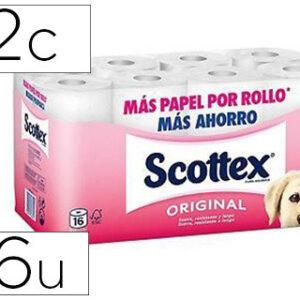 Papel higienico scottex 2 capa s original paquete 16 rollos.