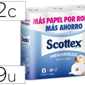 Papel higienico scottex megarrollo doble largo paquetede 9 rollos.