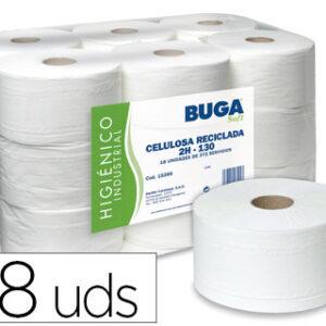 Papel higienico industrial gofrado buga reciclado 2 capas 130 m.