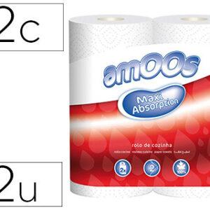 Papel de cocina amoos 21g/m2 ancho 240 mm largo 10 mt 2 capas paquete de 2 rollos.