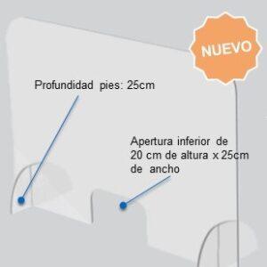 ROCADA Pantalla acrilica protectora de sobremesa 85x70x25cm