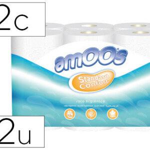 AMOOS paquete de 12 rollos Papel higienico 2 capas 100 mm diametro x 87 mm alto