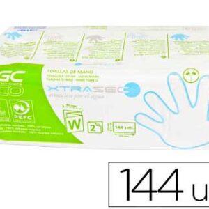 Toalla de papel mano engarzada ecologica -22,5×31 cm 2 capas -paquete con 144 unidades.