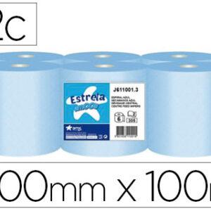 Papel secamanos amoos 2 capas 200 mm x 100 mt color azul paquete de 6 rollos.