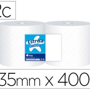 Papel secamanos industrial amoos 2 capas 235 mm x 400 mt paquete de 2 rollos.