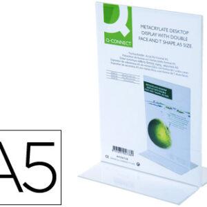 Q-CONNECT Expositor sobremesa con forma de t metacrilato tamaño a5 a dos caras