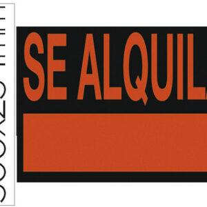 """LIDERPAPEL Cartel plastico """"se alquila"""" rojo fluorescente -500×234 mm."""