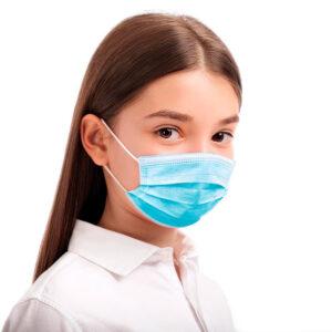 Mascarilla quirurgica facial tres capas infantil para niños de 3 a 12 años desechable tonos azules