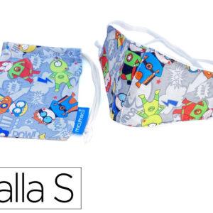 Mascarilla facial proteccion infantil para niños de 3 a 6 años reutilizable lavable regulable fanta.