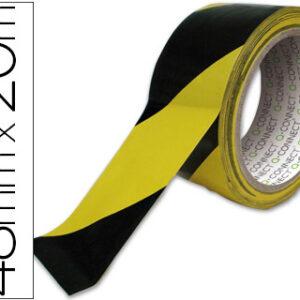 Q-CONNECT Cinta adhesiva de seguridad amarilla y negra 20 mt x 48 mm.