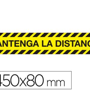 "Cinta adhesiva de señalizacion ""mantenga distancia de seguridad"" pvc 165mc medidas banda 450×80 mm."