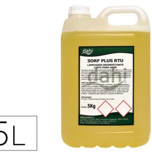Limpiador higienizante desodorizante desinfectante sorf plusamarillo rtu garrafa 5 litros.
