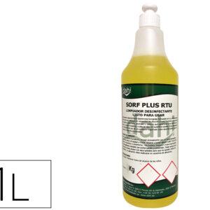 Limpiador higienizante desodorizante desinfectante sorf plusamarillo rtu botella 1 litro.
