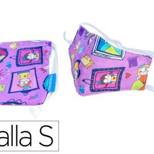 Mascarilla facial proteccion infantil para niñas de 3 a 6 años reutilizable lavable regulable fanta.