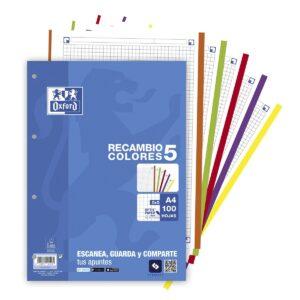 OXFORD RECAMBIO 100h 5X5 A4 90GR MULTICOLOR (5 COLORES DE BANDA)