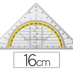 LIDERPAPEL ESCUADRA GEOMETRICA 16 cm PLASTICO CRISTAL C/PESTAÑA SUJECCION