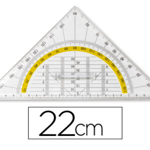 LIDERPAPEL ESCUADRA GEOMETRICA 22 cm PLASTICO CRISTAL C/PESTAÑA SUJECCION