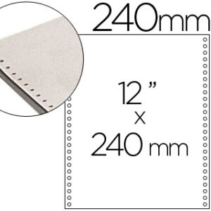 Papel continuo 240×12 blanco -2 hojas -caja de 1500 juegos