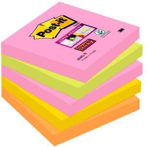 POST-IT Notas adhesivas Super Sticky Pack 5 blocs 90h Neon surtidos 76x76mm 654S-N