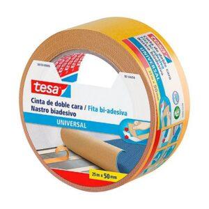 Cinta adhesiva tesa doble cara universal 25 m x 50 mm.