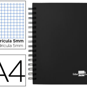 Cuaderno espiral liderpapel A4 micro executive 100h 80 gr cuadro 5, 5 separadores, negro